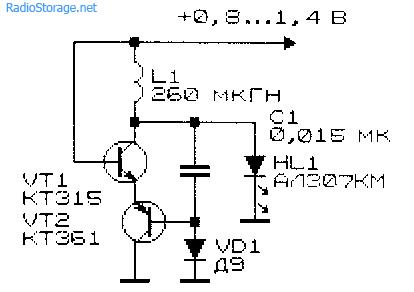 Схема низковольтного преобразователя напряжения для светодиода с катушкой от ПЧ-контура приемника