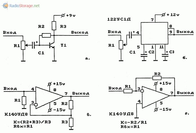 Примеры схем предварительных УНЧ на транзисторе и микросхемах операционных усилителях