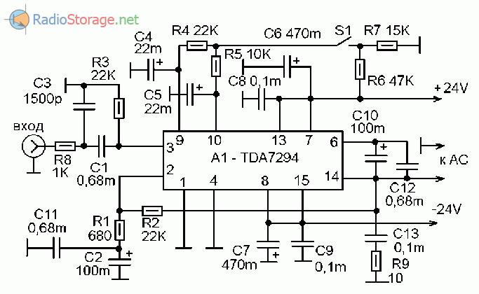 Принципиальная схема помехоустойчивого усилителя мощности (УМЗЧ) на микросхеме TDA7294