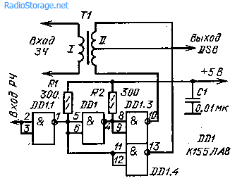 Схема балансного модулятора на микросхеме К155ЛА8