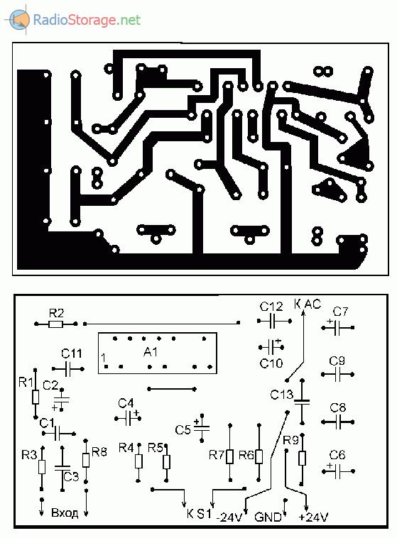 Печатная плата самодельного помехоустойчивого усилителя мощности на TDA7294