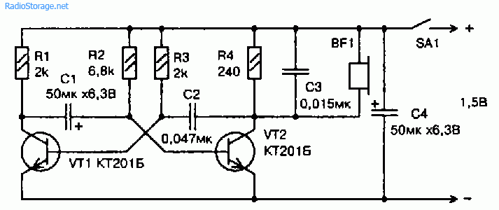 Схема звукового сигнализатора разряда батарейки 1,5В