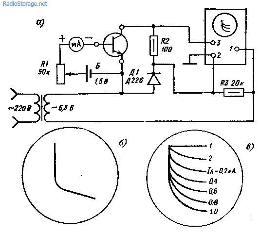 Приставка к осциллографу для наблюдения характеристик транзисторов