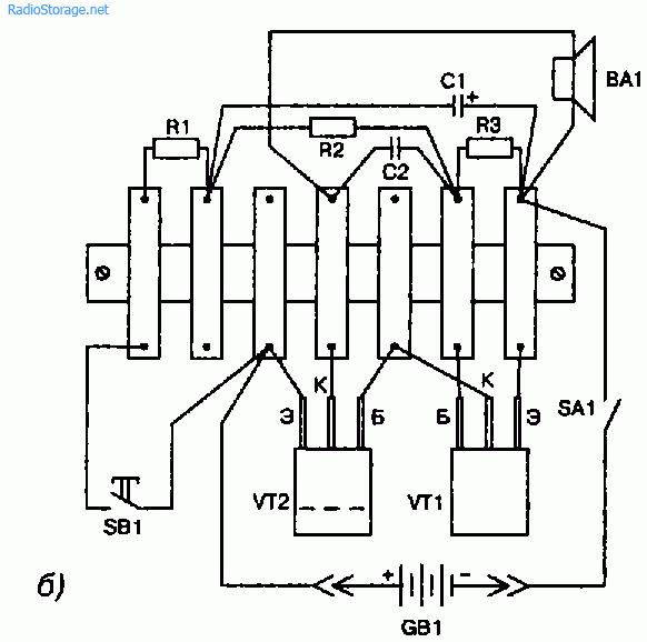 Схема простой электронной сирены