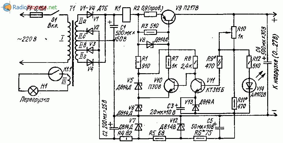 Стабилизированный лабораторный источник питания (0-27В, 500мА)