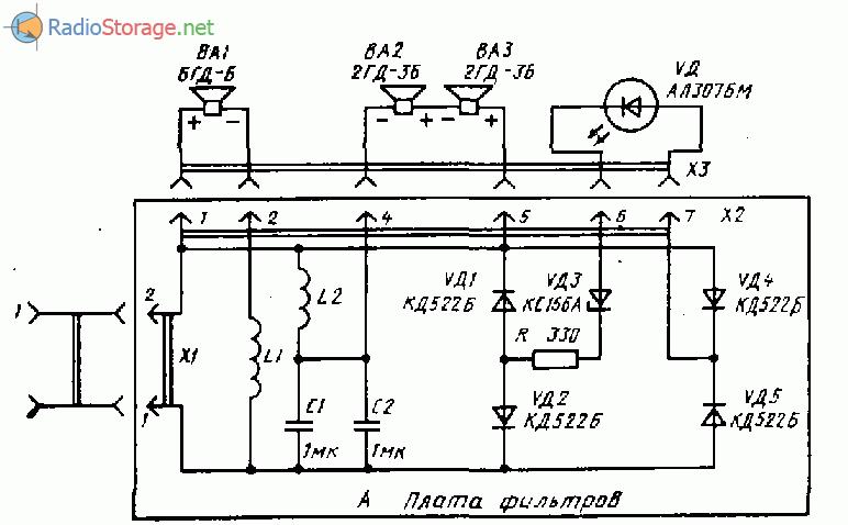Ода-101 стерео (тюнер, магнитофон, усилитель мощности), схема