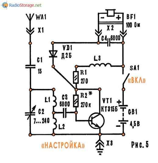 Простой приемник на одном транзисторе КТ315