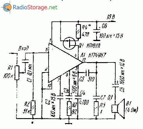 Простой усилитель низкой частоты для переносной аппаратуры