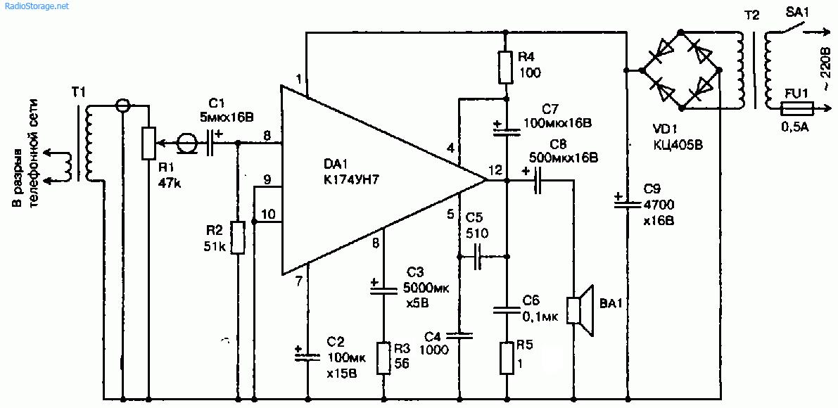Схема громкоговорящей приставки к телефону (К174УН7)