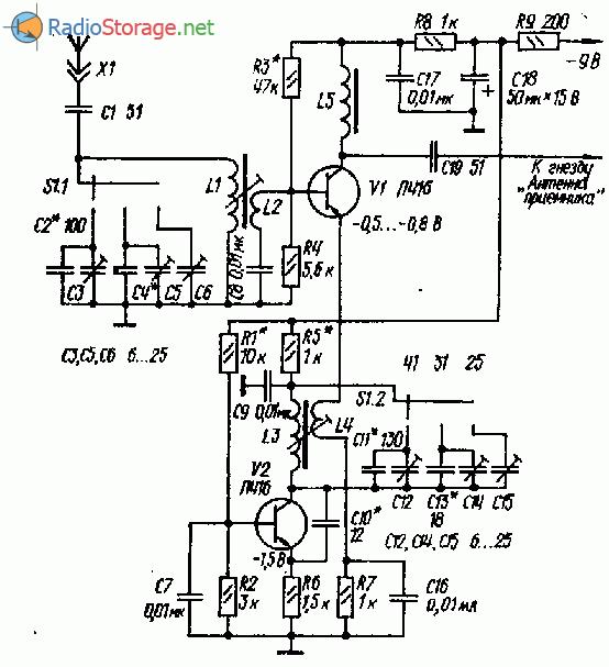 Схема простого КВ конвертера на двух транзисторах (25, 31, 41м)