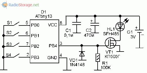 Принципиальная схема оптического передатчика команд на микроконтроллере ATtiny13