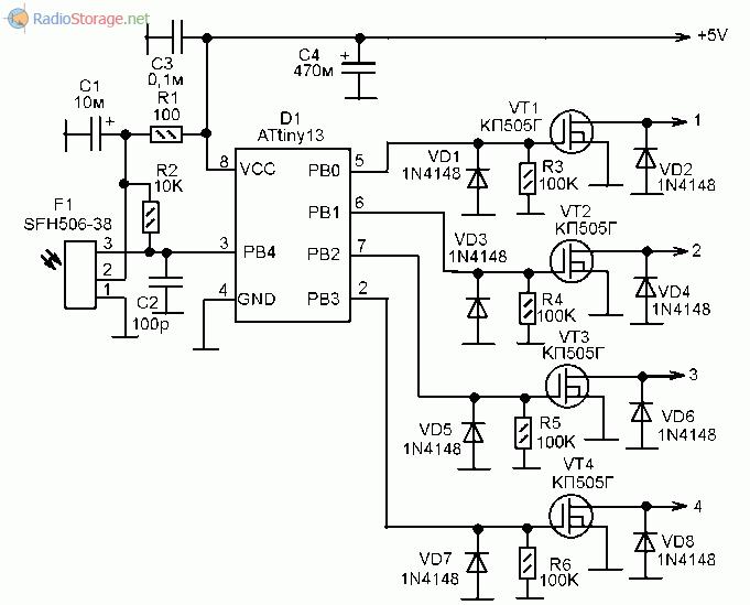 Принципиальная схема оптического приемника команд на микроконтроллере ATtiny13