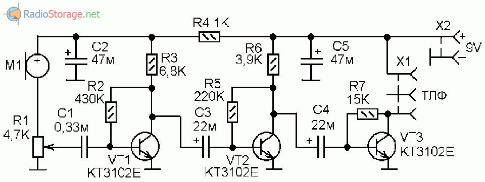 Принципиальная схема чувствительного электрорнного микрофона (стетоскопа)
