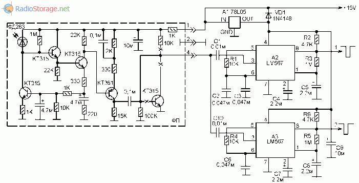 Принципиальная схема оптического приемника дистанционного управления