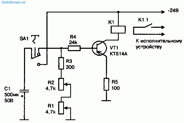 Схема простого реле времени на транзисторе КТ814