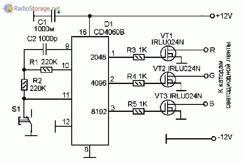 Принципиальная схема переключателя комбинаций цветов для RGB светодиодной ленты