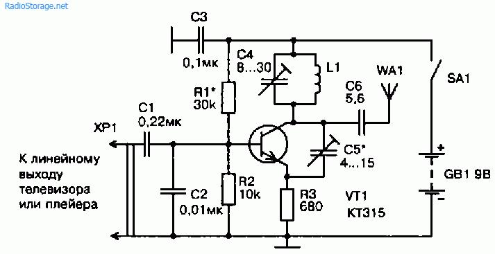 Схема УКВ ЧМ передатчика на одном транзисторе (КТ315)