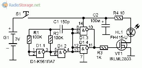 Принципиальная схема оптического передатчика дистанционного управления