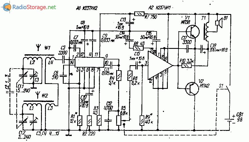 Приемник на микросхемах К237ХК2, К237УН1 (СВ)