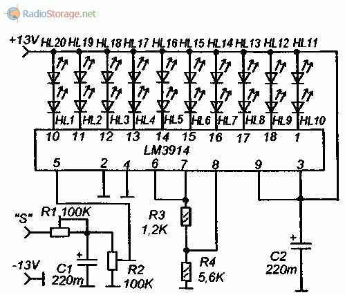 Принципиальная схема стоп сигнала на микросхеме LM3914