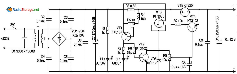 блоки питания на транзисторе