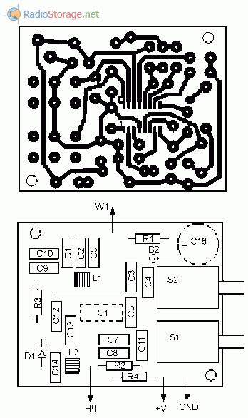 Печатная плата УКВ приемника на TDA7088