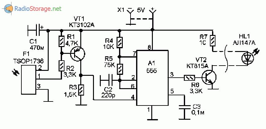 Принципиальная схема модуля ретрансляции инфракрасного сигнала от пульта дистанционного управления