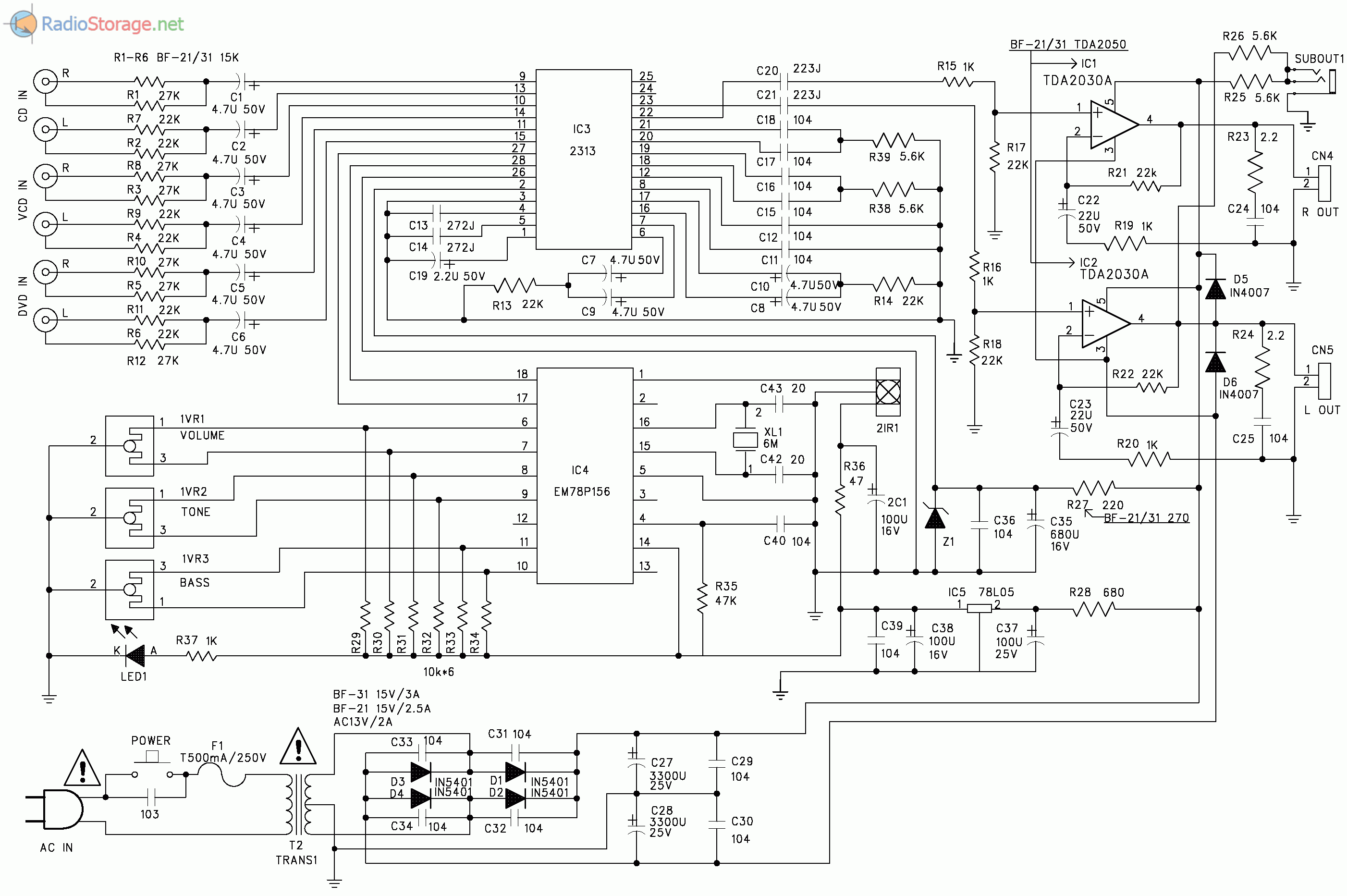 Принципиальная схема АС Sven BF11, BF-21, BF-31