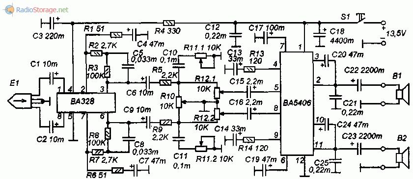 Принципиальная схема усилителя воспроизведения и УМЗЧ на BA328, BA5406