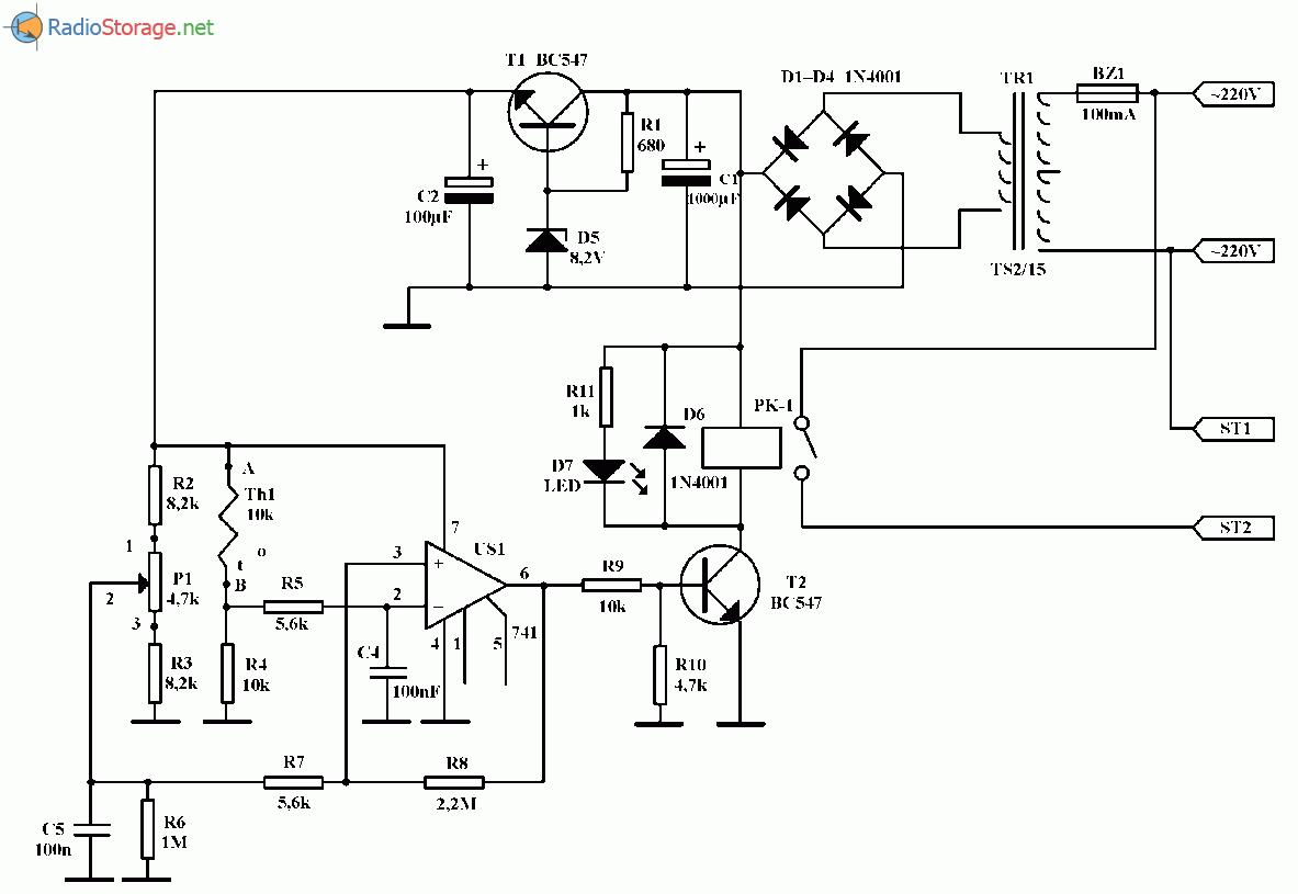 Автоматический регулятор температуры обогрева, схема