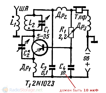 Схема однотранзисторного сверхрегенератора 1970 год