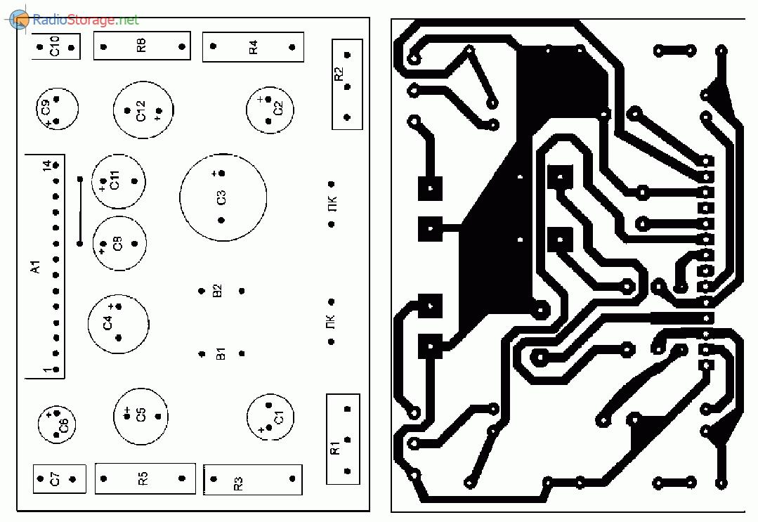 Печатная плата для самодельного УМЗЧ на микросхеме LA4440