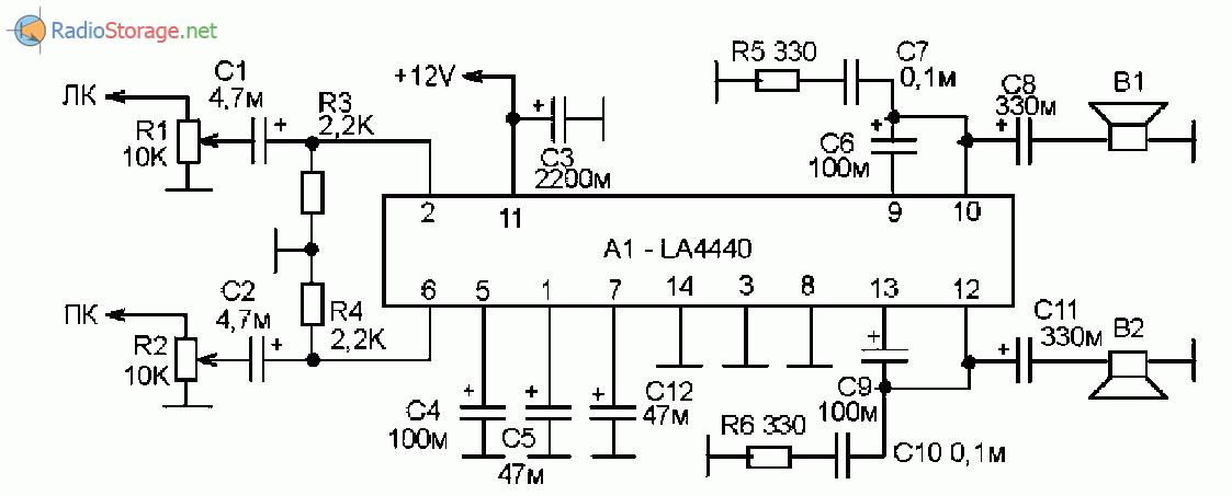 Принципиальная схема усилителя мощности на микросхеме LA4440