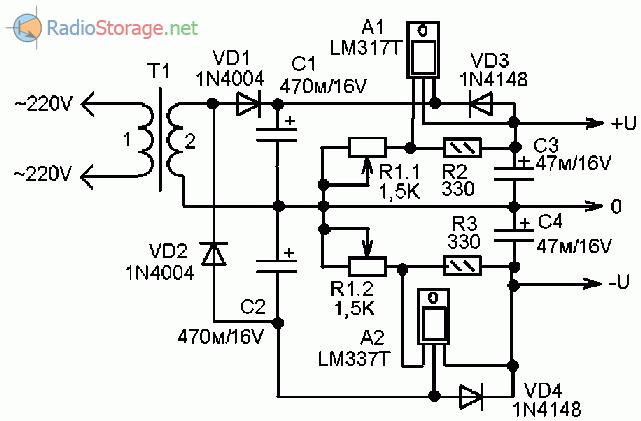 Схема переделки адаптера в двуполярный блок питания