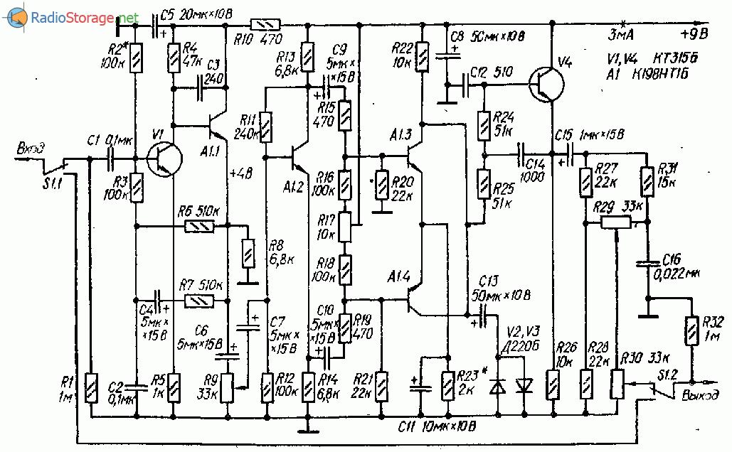 Приставка для гитары схема
