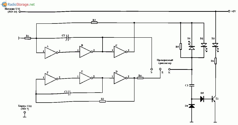Электронный пробник транзисторов со светодиодной индикацией, схема