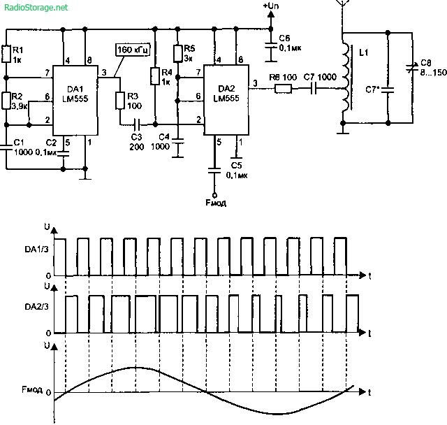 Микромощный радиопередатчик на 100-500 кГц