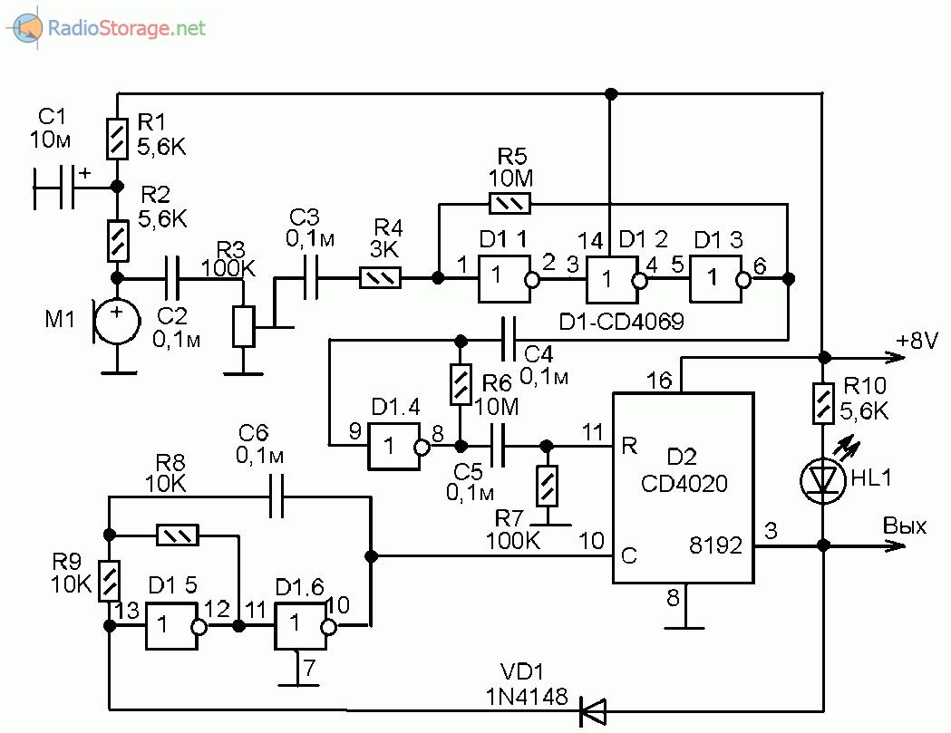 Принципиальная схема акустического датчика (звукового реле) на двух микросхемах