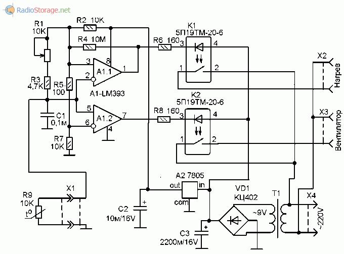 Принципиальная схема терморегулятора для управления нагревательным и охладительным элементами