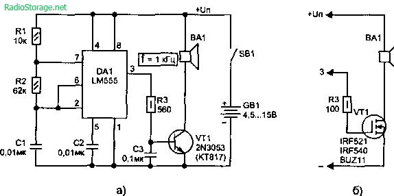 Получение мощного звукового сигнала 1-28Вт (LM555)