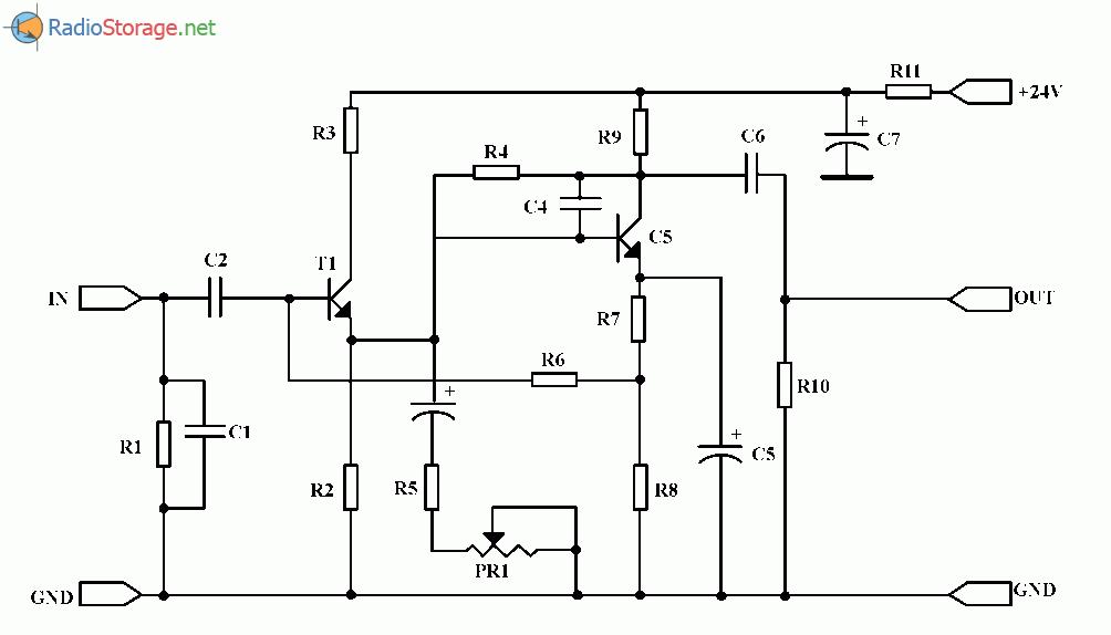 Микрофонный предусилитель на транзисторах ВС547, ВС548, схема