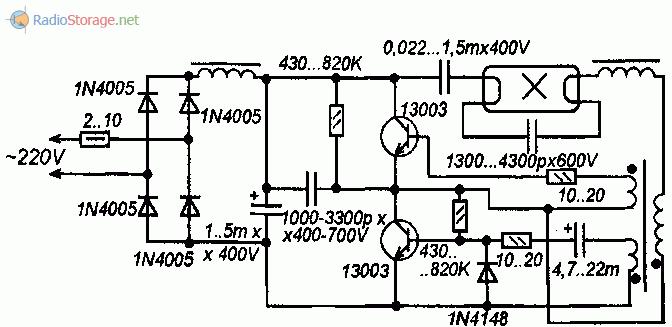 Принципиальная схема преобразователя напряжения для энергосберегающей лампы