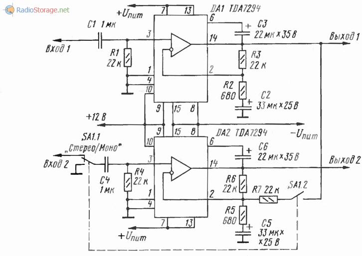 Принципиальная схема мощного автомобильного усилителя мощности (УМЗЧ) на микросхемах TDA7294
