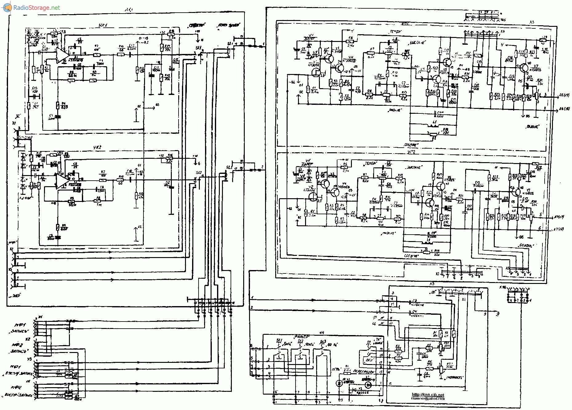 Усилитель Амфитон У-101 стерео, схема