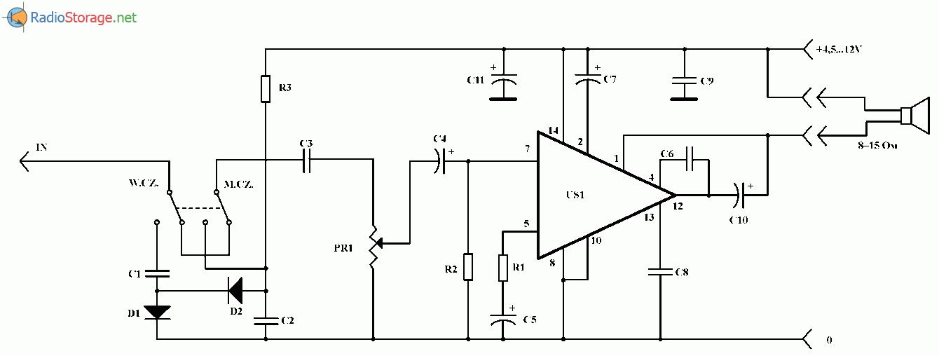 Пробник - детектор наличия аудио сигнала, схема