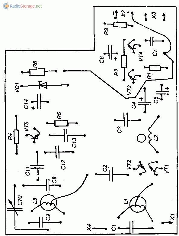 Расположение деталей на плате КВ приемника