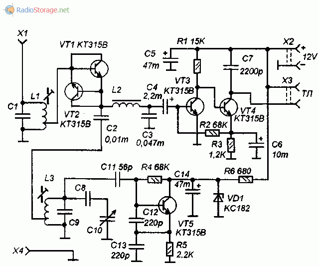 Принципиальная схема КВ приемника на пяти транзисторах КТ315