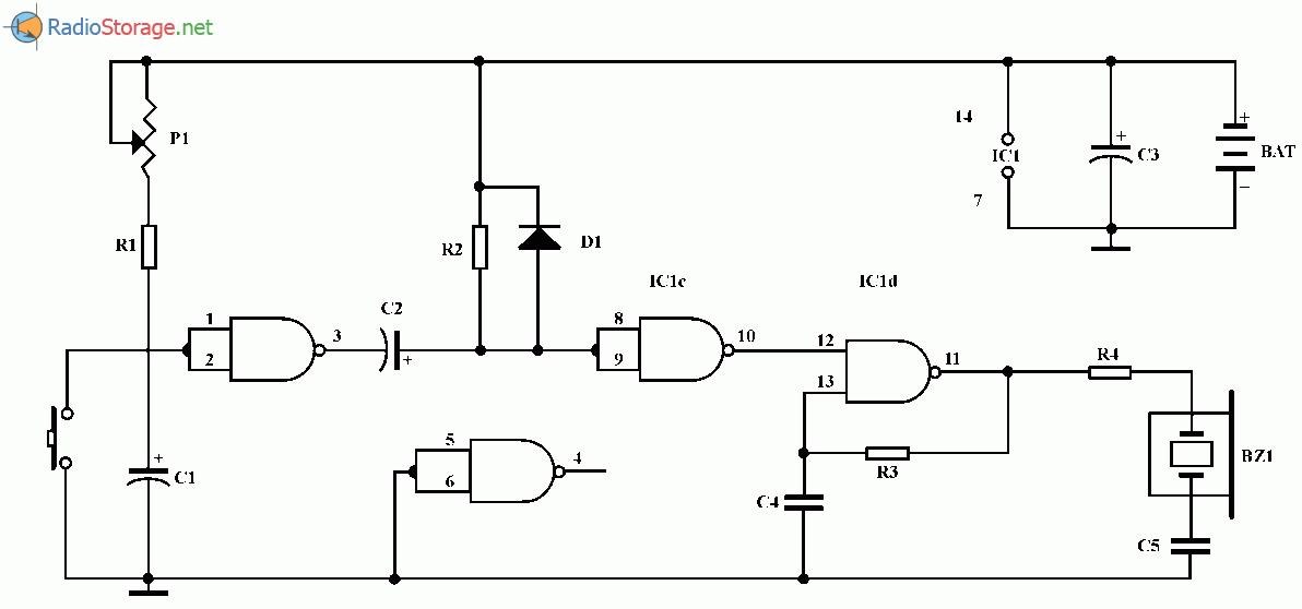 Простой таймер со звуковой сигнализацией, схема