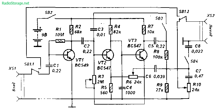 Схема дисторшн приставки на транзисторах для гитары