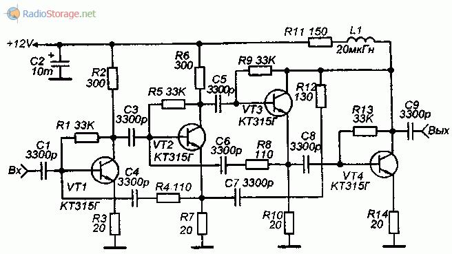 Схема широкополосного усилителя ВЧ на транзисторах КТ315 0,5-70МГц